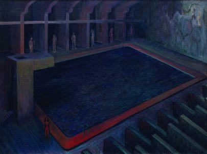 Bazén, 2008, olej na plátně, 150 × 200 cm.