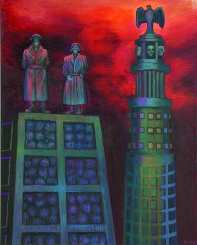 Strážci hygieny, 2012, olej na plátně, 150 × 120 cm.