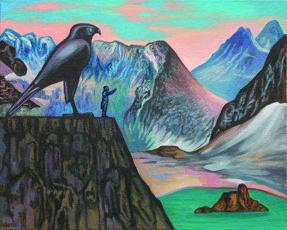 Nietzsche v horách, 2013, olej na plátně, 90 × 110 cm.