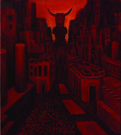 Rudé město, 2014, olej na plátně, 140 × 160 cm.