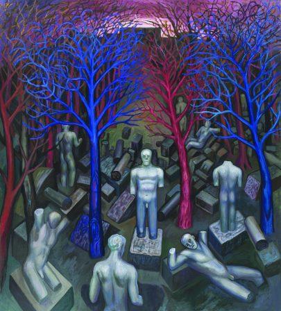 Hřbitov soch, 2015, olej na plátně, 170 × 150 cm.