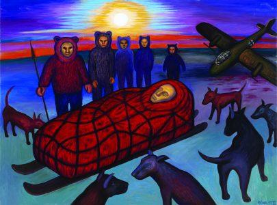 Podivný příběh umělce J.B., 2019, olej na plátně, 120 × 160 cm.