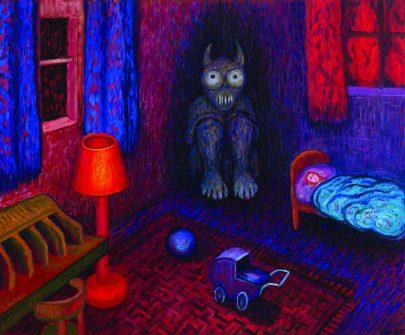 Dětský pokoj, 2020, olej na plátně, 95 × 115 cm.