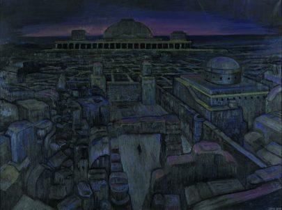 Opuštěné město, olej na plátně, 2009, 150 × 200 cm.