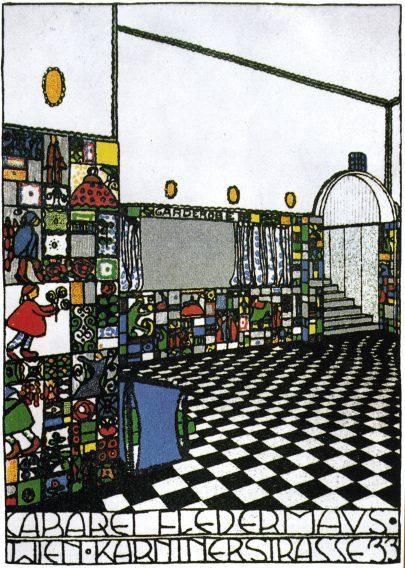 Kabaret Fledermaus – pohlednice Josefa Hoffmanna, pohled do foyer baru.