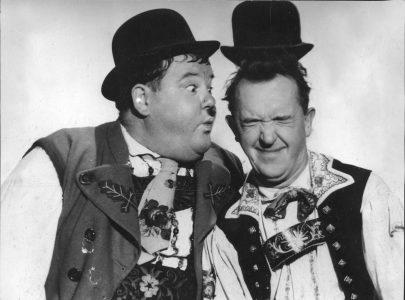 Laurel a Hardy v komedii Swiss Miss.