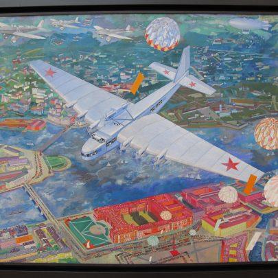 Vasilij Kupcov: ANT-20 Maxim Gorkij, 1934, Statní ruské muzeum Petrohrad. Zdroj: Wikimedia Commons.