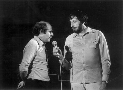 S Petrem Skoumalem, vystoupení mimo Prahu (1980). Foto: Archiv J. V.