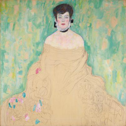 Nedokončený portrét Amalie Zuckerkandlové od Gustava Klimta (mezi lety 1917 až 1918), Österreichische Galerie Belvedere. Zdroj: Wikimedia Commons.