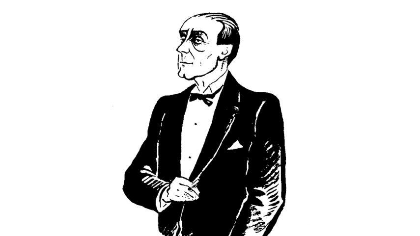 Adolf Loos, karikatura z časopisu Bytová kultura (1925).