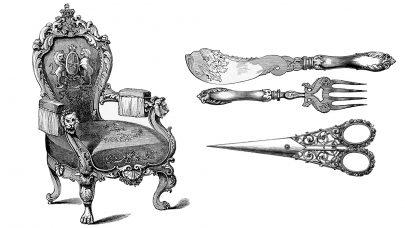 Ukázka přebujelé ornamentální zdobnosti, z ilustrovaného katalogu První světové výstavy (Great Exhibition of the Works of Industry of all Nations), 1851. (obr. 3)