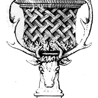 Pohár imitující košík na hlavě jelena. Ilustrace z knihy Ralfa Wornuma The Analysis of Ornament, 1856. (obr. 14)