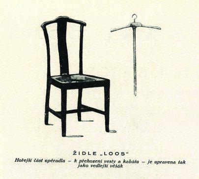 """Židle """"Loos"""", časopis Bytová kultura I, 1924/1925. Horní část opěradla je uzpůsobena k přehození vesty a kabátu. (obr. 15)"""