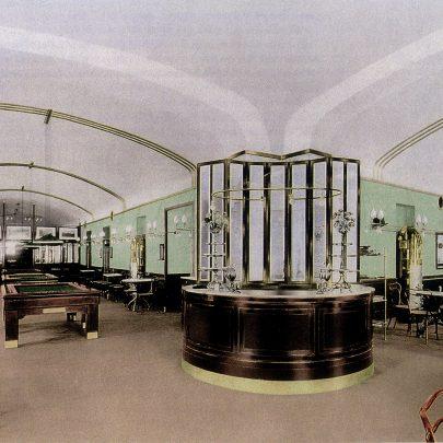 Interiér Café Museum navržený Adolfem Loosem, 1899, vizualizace původního interiéru. Repro: Sarnitz, August: Adolf Loos (2016), Taschen, s. 22. (obr. 25)