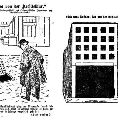 Karikatura Loosovy stavby znázorňující údajný zdroj architektovy inspirace ve vydání Illustrirtes Wiener Extrablatt z ledna 1911, kdy ještě nebyly osazeny čtyři toskánské sloupy v průčelí stavby. Odkaz na Loose je obsažen i ve slovní hříčce názvu: Los von der Architektur (Pryč s architekturou). (obr. 28)