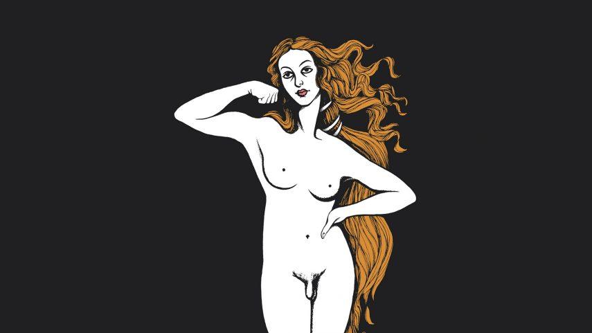 Christopher Dombres: Transgenderová Venuše, návrh plakátu, 1994. Foto Wikimedia Commons.